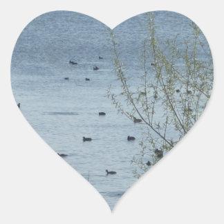 Pegatinas de los pájaros del lago pegatina corazon