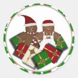 Pegatinas de los pares de ChristmasGingerbread Etiquetas Redondas