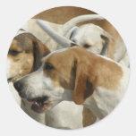 Pegatinas de los perros de caza etiqueta redonda