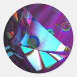 Pegatinas de los pescados de arco iris pegatina redonda