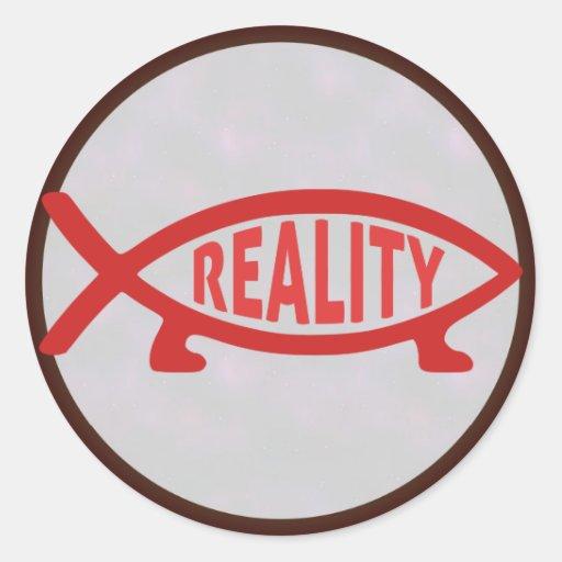 Pegatinas de los pescados de Darwin de la realidad Etiqueta Redonda