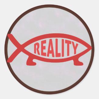 Pegatinas de los pescados de Darwin de la realidad Pegatina Redonda