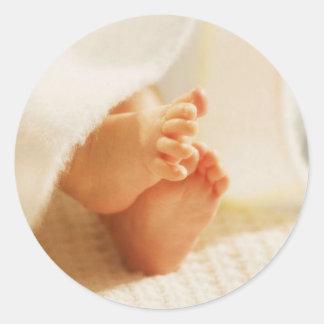 Pegatinas de los pies del bebé pegatinas redondas