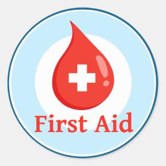 Pegatinas de los primeros auxilios etiquetas redondas