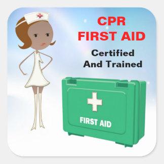 Pegatinas de los primeros auxilios del CPR Pegatina Cuadrada