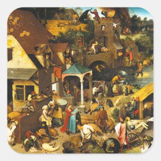 Pegatinas de los proverbios de Pieter Bruegel Pegatinas Cuadradases