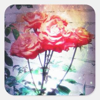Pegatinas de los rosas de la llama calcomanias cuadradas