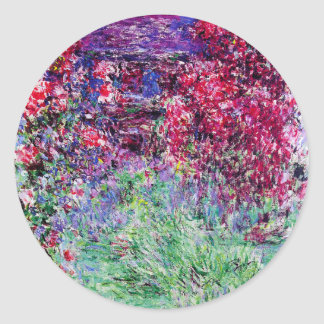 Pegatinas de los rosas de Monet Pegatina Redonda