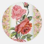 Pegatinas de los rosas de Pascua del vintage Pegatina Redonda