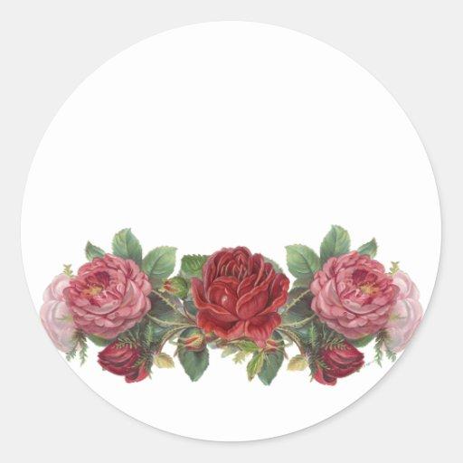 Pegatinas de los rosas rosados y rojos del vintage pegatina redonda
