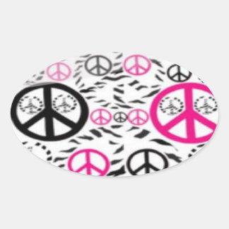 Pegatinas de los signos de la paz pegatina ovalada