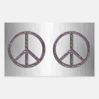 Pegatinas de los signos de la paz de las joyas rectangular pegatinas