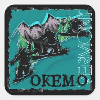 Pegatinas de los snowboarders de Okemo Vermont Pegatina Cuadrada