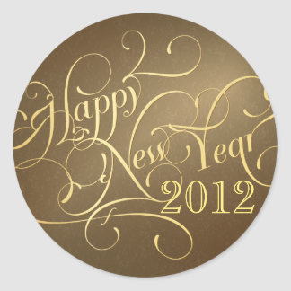 Pegatinas de lujo de la Feliz Año Nuevo - oro