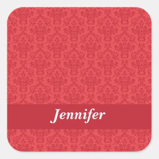 Pegatinas de lujo rojos del damasco del nombre de pegatina cuadrada