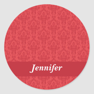 Pegatinas de lujo rojos del damasco del nombre de pegatina redonda