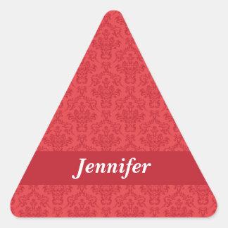 Pegatinas de lujo rojos del damasco del nombre de pegatina triangular