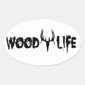 Pegatinas de madera de la vida pegatina ovalada