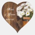 Pegatinas de madera del cubo y del boda del país pegatinas de corazon personalizadas