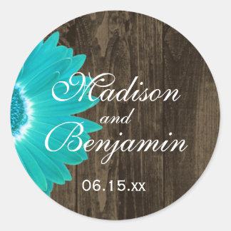 Pegatinas de madera rústicos del favor del boda de etiqueta redonda