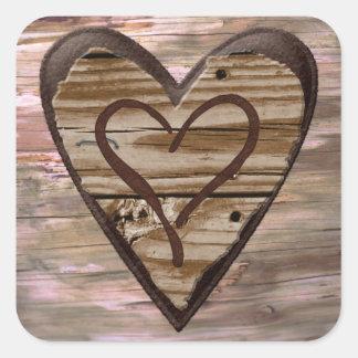 Pegatinas de madera rústicos del sello del sobre pegatina cuadrada