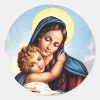 Pegatinas de Madonna y del niño Etiqueta Redonda