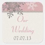 Pegatinas de marfil rosados del boda del invierno calcomania cuadradas