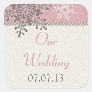 Pegatinas de marfil rosados del boda del invierno pegatina cuadrada