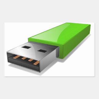 Pegatinas de memoria USB Rectangular Pegatinas