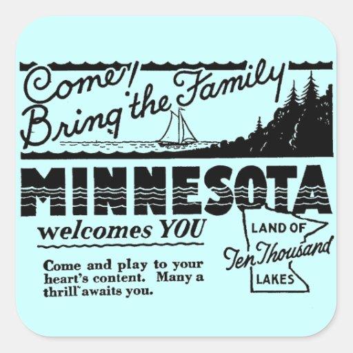 Pegatinas de Minnesota Pegatina Cuadradas Personalizada