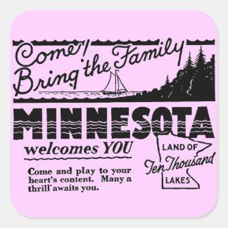 Pegatinas de Minnesota Colcomanias Cuadradas Personalizadas