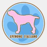 Pegatinas de moda de Spinone Italiano Etiquetas Redondas