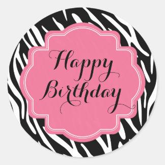 Pegatinas de moda del feliz cumpleaños del rosa pegatina redonda