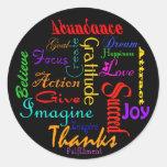 Pegatinas de motivación del collage de la palabra pegatina redonda