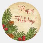 Pegatinas de Navidad del navidad de las bayas del Etiqueta Redonda