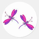 Pegatinas de neón de la libélula etiqueta redonda