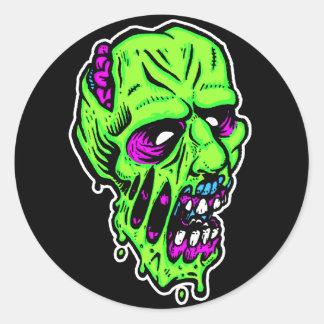 pegatinas de neón del zombi pegatina redonda