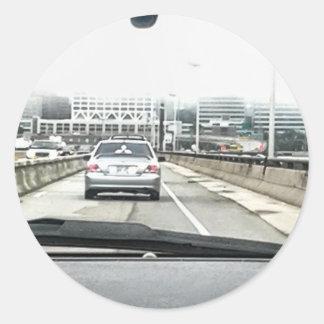 Pegatinas de niebla de la autopista sin peaje pegatina redonda