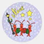 Pegatinas de Noel de los cangrejos de Caroling Etiquetas Redondas