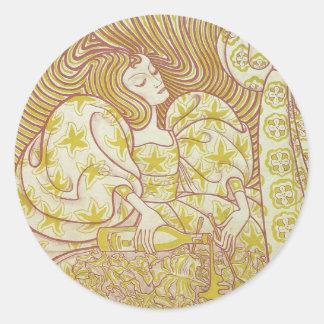 Pegatinas de Nouveau del arte de Delftsche Slaolie Etiqueta Redonda
