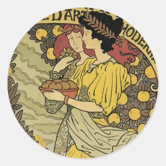 Pegatinas de Nouveau del arte de la decoración Etiquetas Redondas