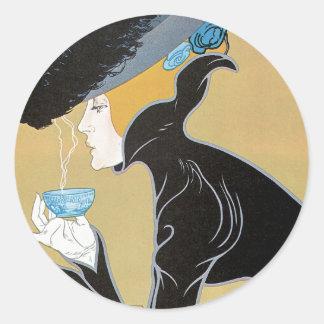 Pegatinas de Nouveau del arte del té de Marco Polo Pegatinas Redondas