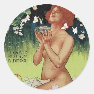 Pegatinas de Nouveau Parfum del arte Pegatinas Redondas