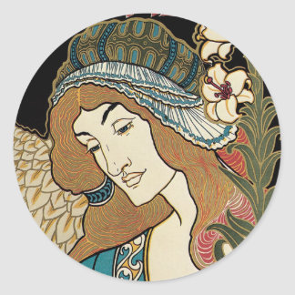 Pegatinas de Nouveau Pascua del arte Etiqueta Redonda