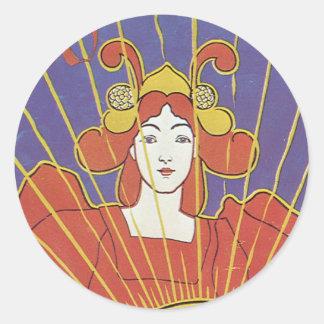 """Pegatinas de Nouveau """"The Sun"""" del arte Etiquetas Redondas"""
