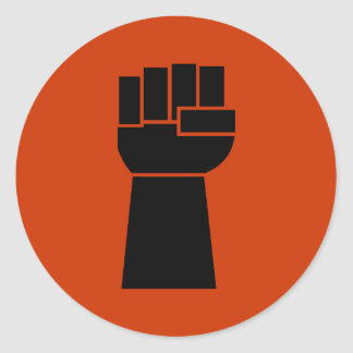Pegatinas de Obama del puño del negro del poder Etiquetas Redondas