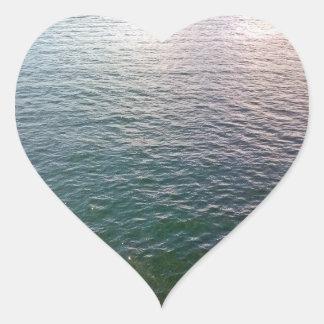 Pegatinas de ondulación del agua pegatina en forma de corazón