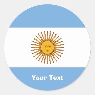 Pegatinas de oro de la bandera de Sun la Argentina Pegatina Redonda