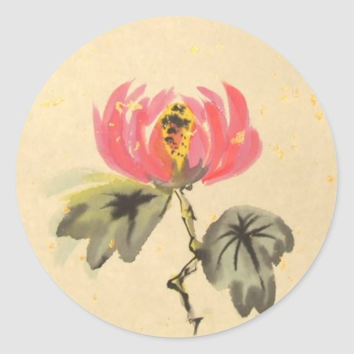 Pegatinas de oro de la flor de Lotus sagrado Pegatina Redonda