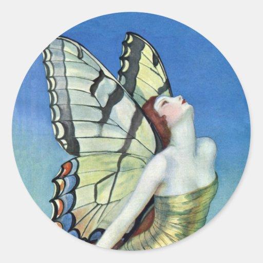 Pegatinas de oro de la hada de la mariposa etiquetas redondas